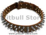 Leather Spiked Dog Collar-3 Rows of spikes dog collar