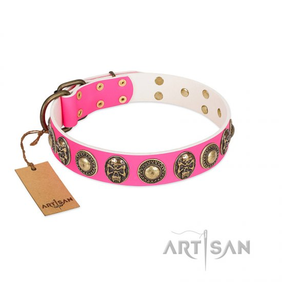 """Two Extremes"" FDT Artisan Pink Leather Pitbull Collar with Elegant Conchos and Medallions with Skulls"