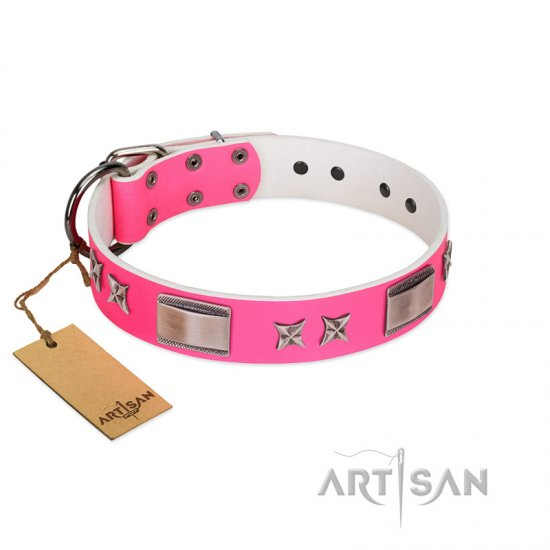 """Pinky Fantasy"" Pink FDT Artisan Leather Pitbull Collar with Chrome-plated Stars and Large Plates"
