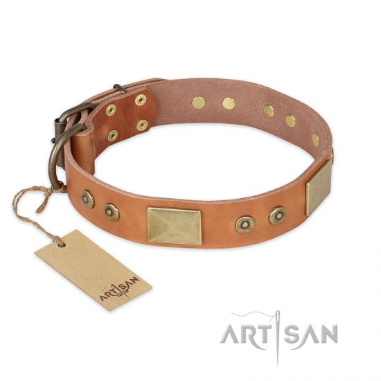 'The Middle Ages' FDT Artisan Handcrafted Tan Leather Pitbull Dog Collar