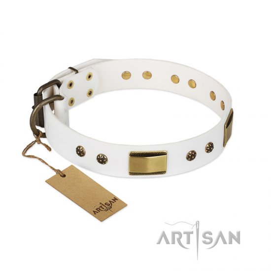 'Precious Necklace' FDT Artisan Pitbull White Leather Dog Collar with Plates and Studs - 1 1/2 inch (40 mm) wide