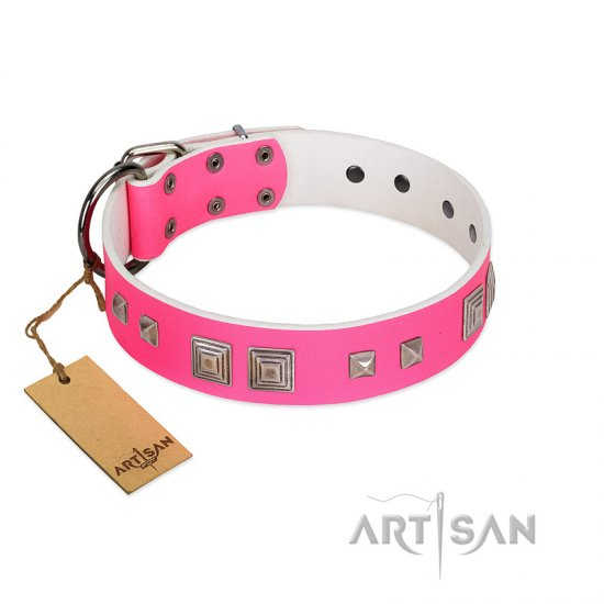 """Rosy Evolution"" Designer Handmade FDT Artisan Pink Leather Pitbull Collar - Click Image to Close"