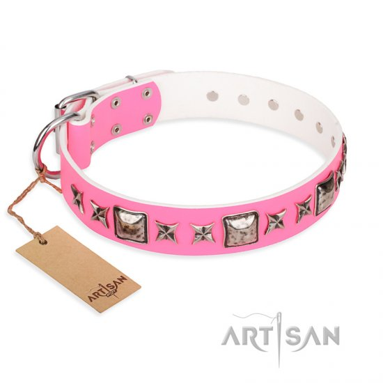 """Lady in Pink"" FDT Artisan Extraordinary Leather Pitbull Collar with Glamorous Studs"