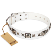 """Intergalactic Travelling"" FDT Artisan Handmade White Leather Pitbull Collar with Stars and Studs"