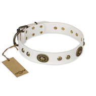 """Adorable Dream"" FDT Artisan White Leather Pitbull Collar Adorned with Brass Circles"