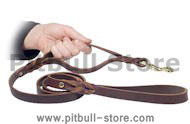 Leather Dog Lead With 2 Handles -3/4 inch on 5 foot DOG LEASH