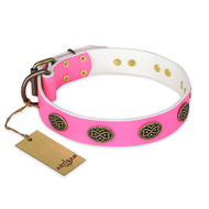 'Forever Fashion' FDT Artisan Pitbull Pink Leather Dog Collar with Old Look Plates - 1 1/2 inch (40 mm) wide