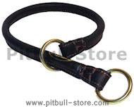 1/4 inch Wide Rolled Choke Dog Collar for Pitbull - Click Image to Close