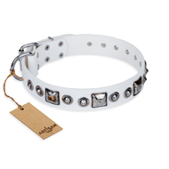 'Lustre of Fame' FDT Artisan White Studded Leather Pitbull Dog Collar - 1 1/2 inch (40 mm) wide