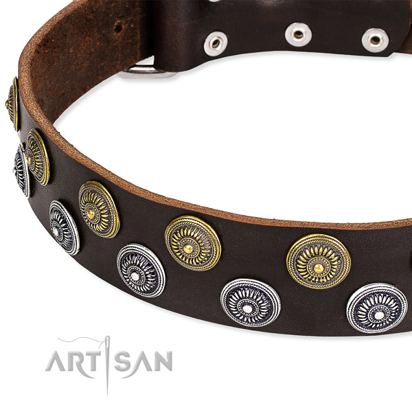 Easy to adjust leather dog collar with almost unbreakable rust-proof hardware
