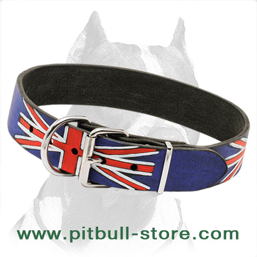 Leather dog collar for Pitbulls hand-painted in British style