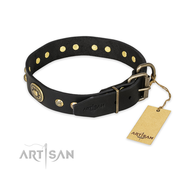 Exquisite design adornments on natural genuine leather dog collar