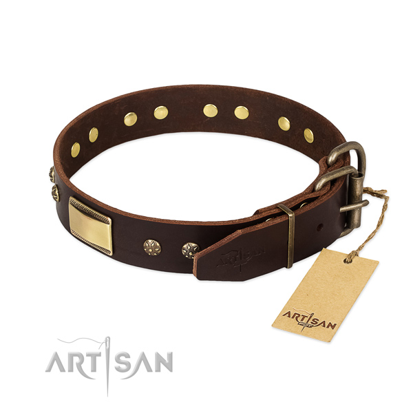 Handy use full grain genuine leather collar with adornments for your pet