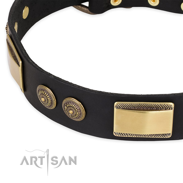 Walking natural genuine leather collar with strong buckle and D-ring