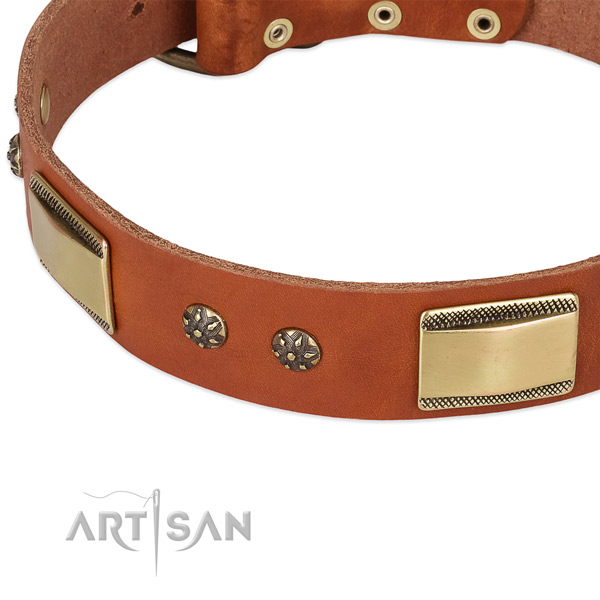 Everyday use natural genuine leather collar with rust resistant buckle and D-ring
