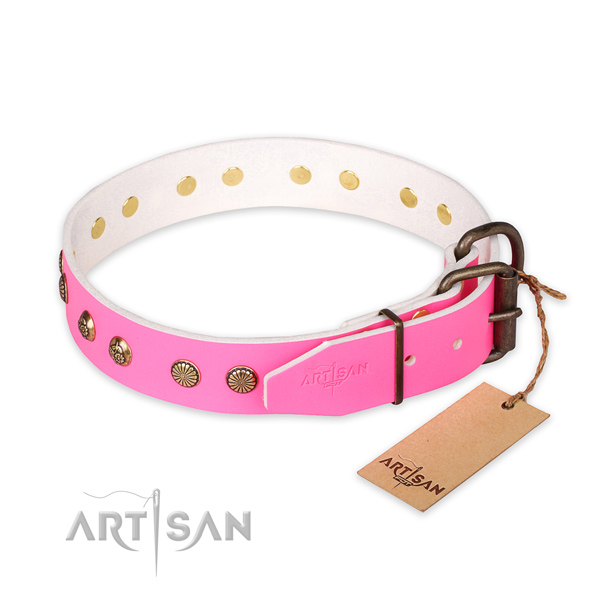 Walking natural genuine leather collar with adornments for your doggie
