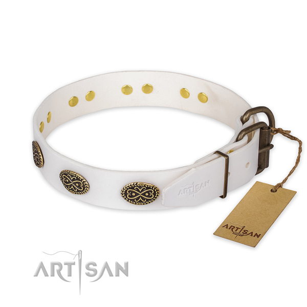 Daily use full grain leather collar with adornments for your pet
