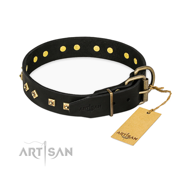 Stylish walking leather collar with decorations for your pet