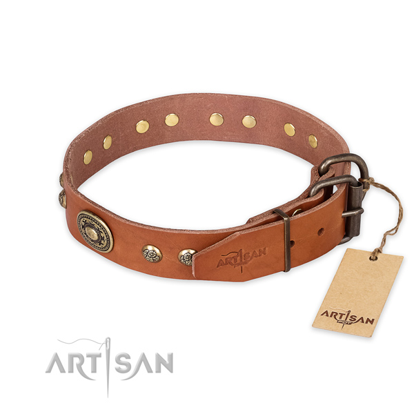 Handy use genuine leather collar with decorations for your four-legged friend