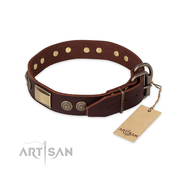 Everyday walking genuine leather collar with decorations for your four-legged friend