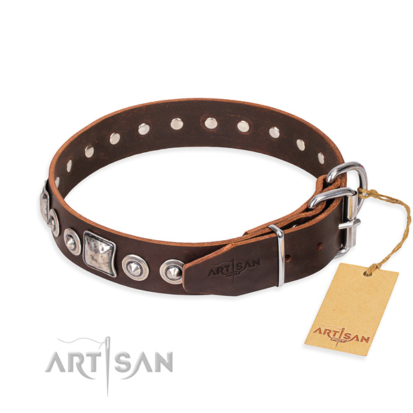 Functional leather collar for your elegant pet