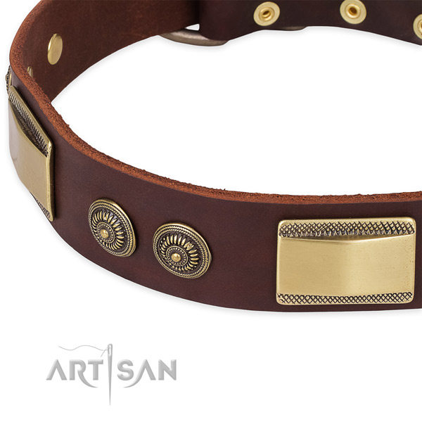 Walking full grain genuine leather collar with corrosion proof buckle and D-ring