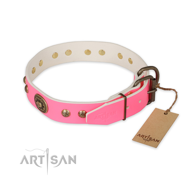Exceptional design decorations on full grain natural leather dog collar