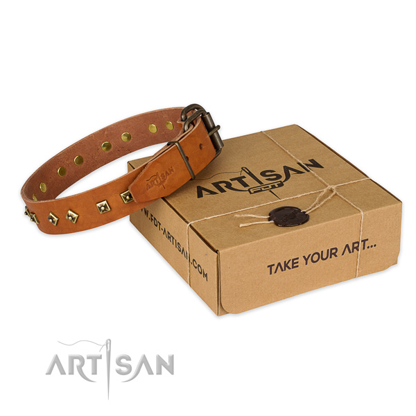 Finest quality natural genuine leather dog collar for everyday use