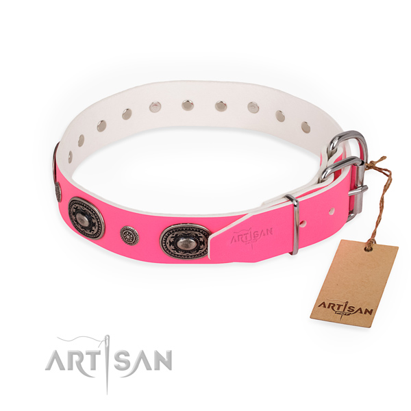 Amazing design embellishments on full grain genuine leather dog collar