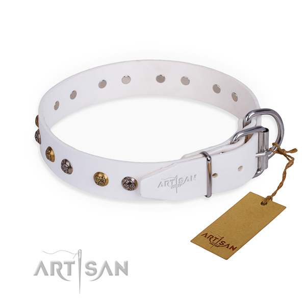 Trendy design decorations on genuine leather dog collar