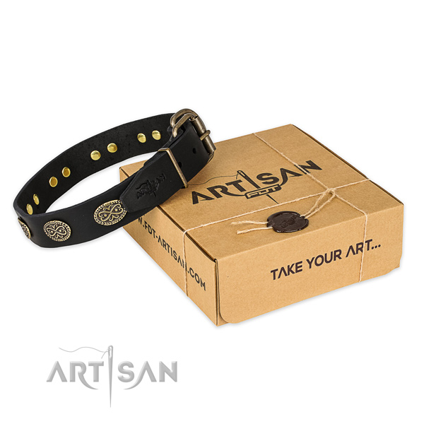 Perfect fit genuine leather dog collar for stylish walking