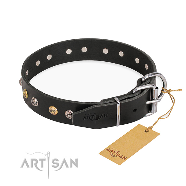 Extraordinary design studs on natural genuine leather dog collar