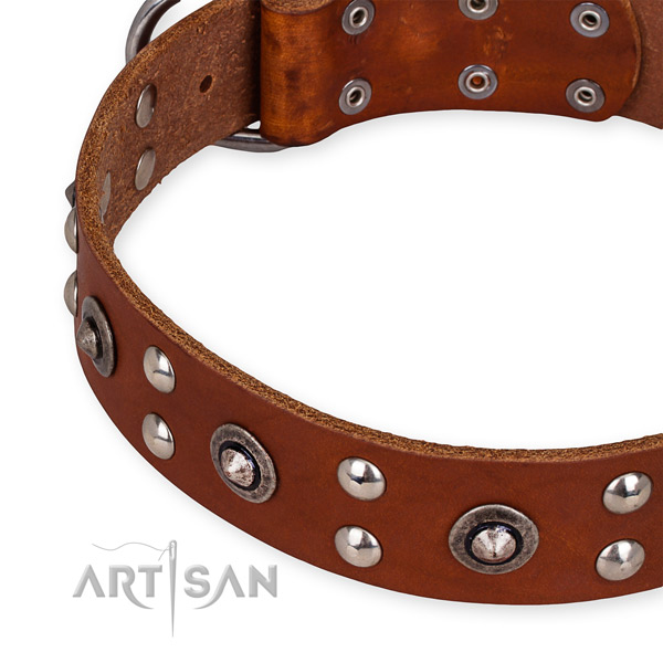 Easy to use leather dog collar with extra strong rust-proof buckle and D-ring