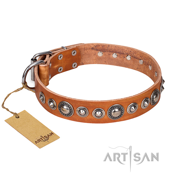 Strong leather dog collar with non-corrosive elements