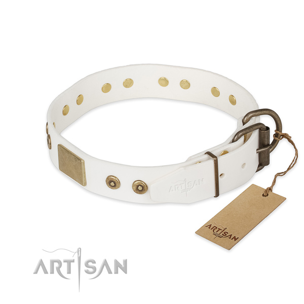 Everyday walking natural genuine leather collar with studs for your pet