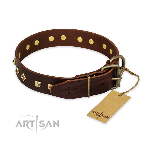 Stylish walking natural genuine leather collar with studs for your pet