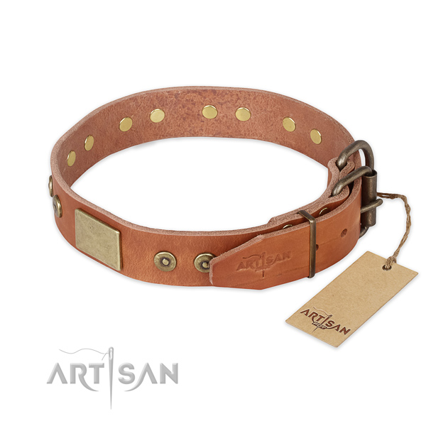 Stylish walking full grain natural leather collar with decorations for your doggie