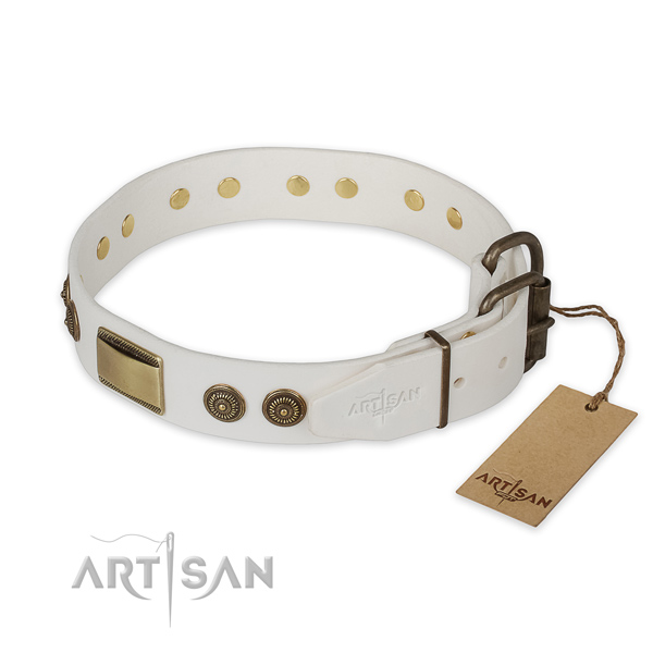 Daily use natural genuine leather collar with studs for your four-legged friend