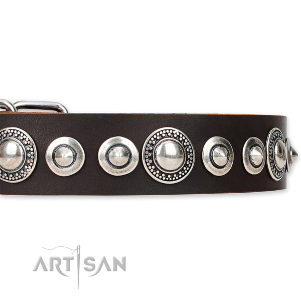 Easy to adjust leather dog collar with almost unbreakable non-rusting hardware