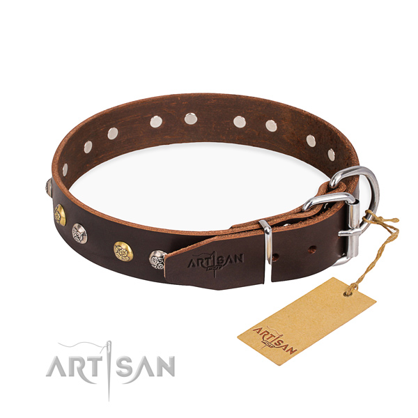 Remarkable design embellishments on natural genuine leather dog collar