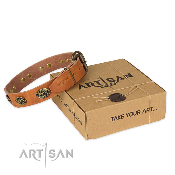 Stylish design natural genuine leather dog collar for daily use