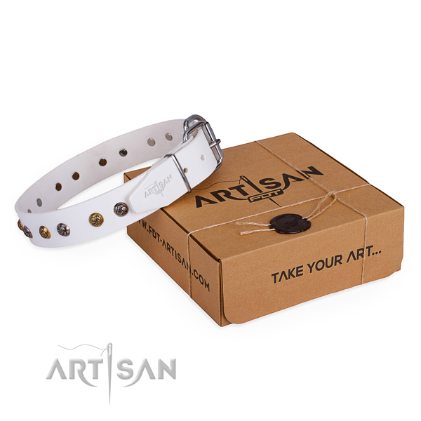 Top quality natural genuine leather dog collar for everyday use