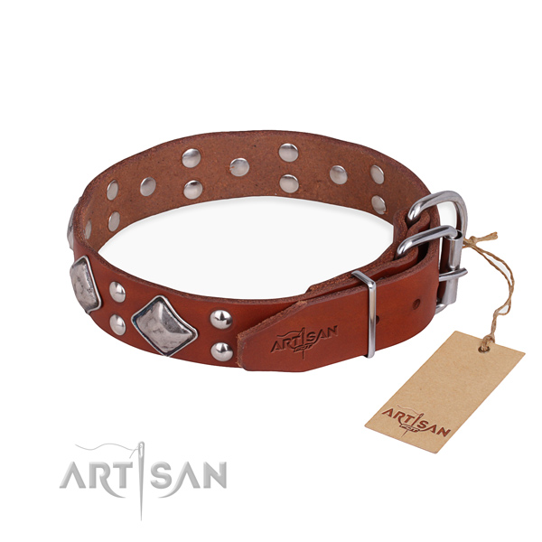 Functional leather collar for your handsome canine
