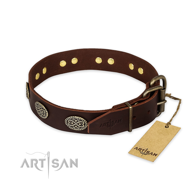 Unusual design studs on natural genuine leather dog collar