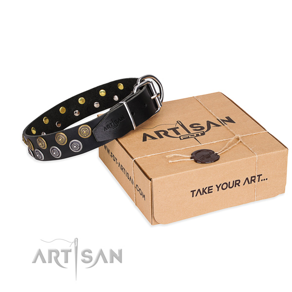 Casual style leather dog collar with unique design decorations