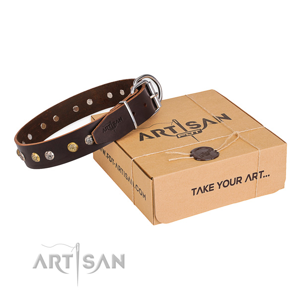 Impressive natural genuine leather dog collar for daily use