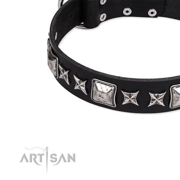 Easy to use leather dog collar with extra strong durable hardware