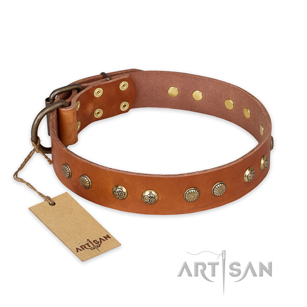 Stunning design decorations on full grain natural leather dog collar