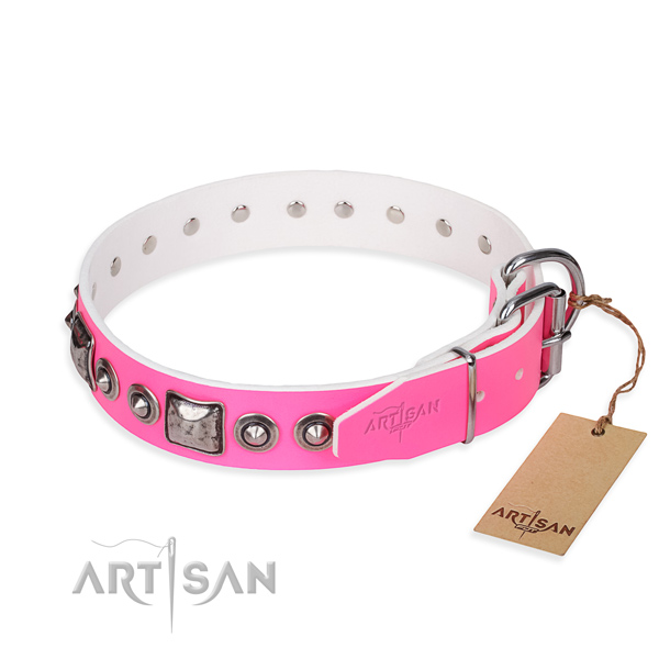 Wear-proof leather collar for your stunning canine