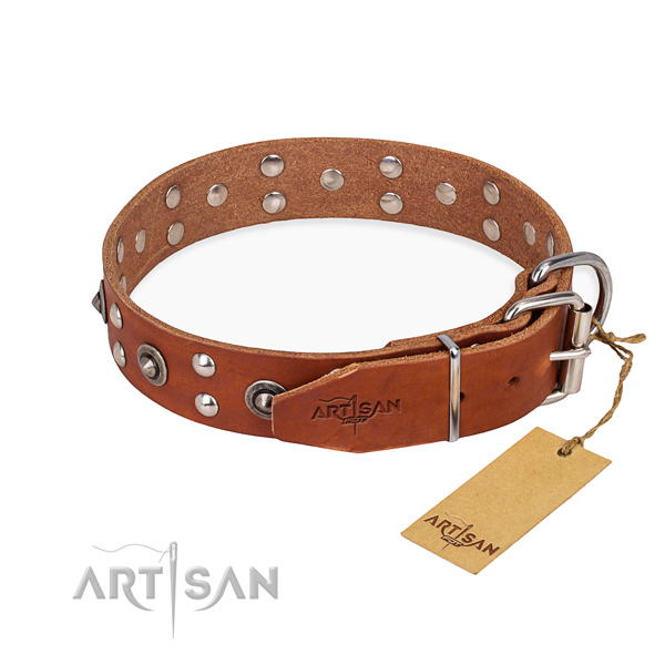 Daily use full grain genuine leather collar with studs for your doggie